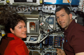 Astronaut Laurel Clarke and STS-107 Commander Rick Husband monitoring the prostate carcinoma experiment progress during Columbia's last flight. Their efforts may someday lead to a profound impact on prostate cancer research.